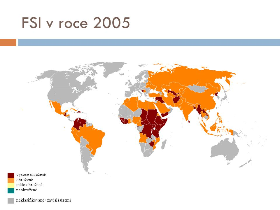 FSI v roce 2005 vysoce ohrožené ohrožené málo ohrožené neohrožené