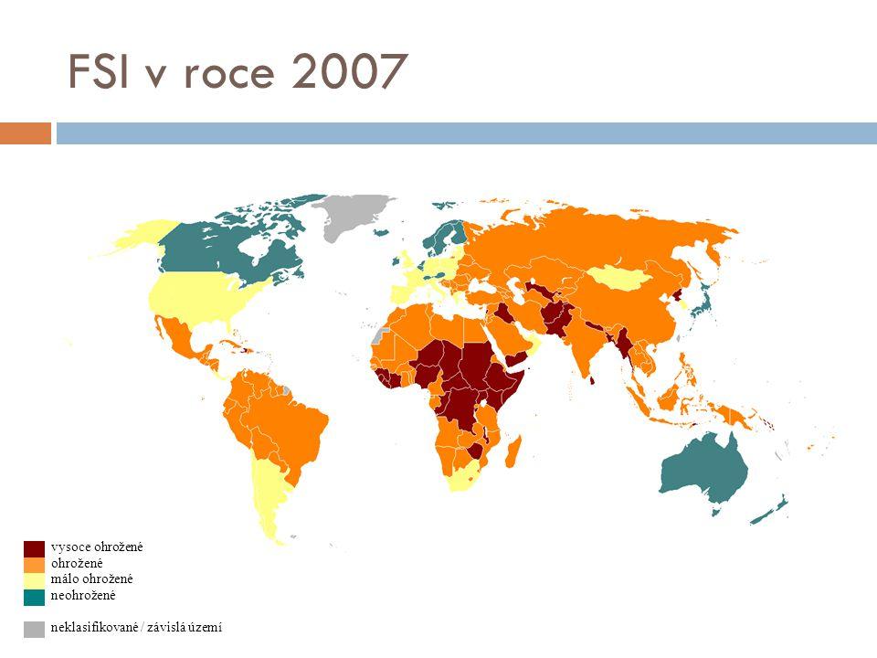 FSI v roce 2007 vysoce ohrožené ohrožené málo ohrožené neohrožené