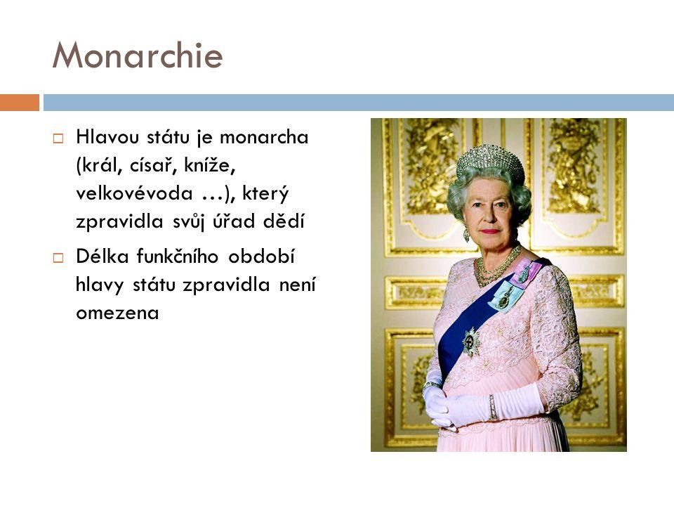 Monarchie Hlavou státu je monarcha (král, císař, kníže, velkovévoda …), který zpravidla svůj úřad dědí.