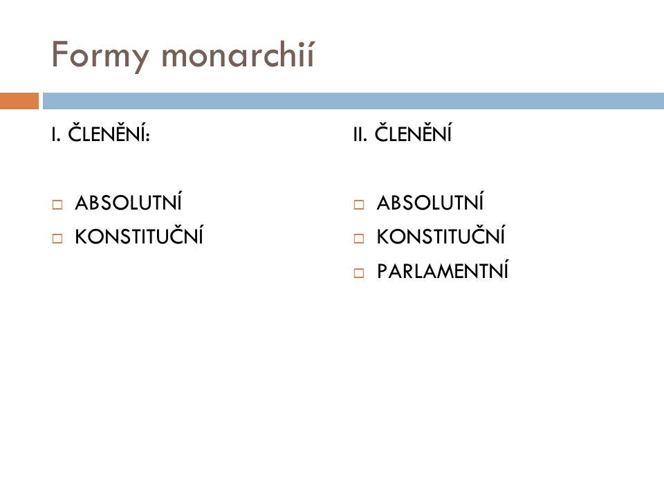 Formy monarchií I. ČLENĚNÍ: ABSOLUTNÍ KONSTITUČNÍ II. ČLENĚNÍ
