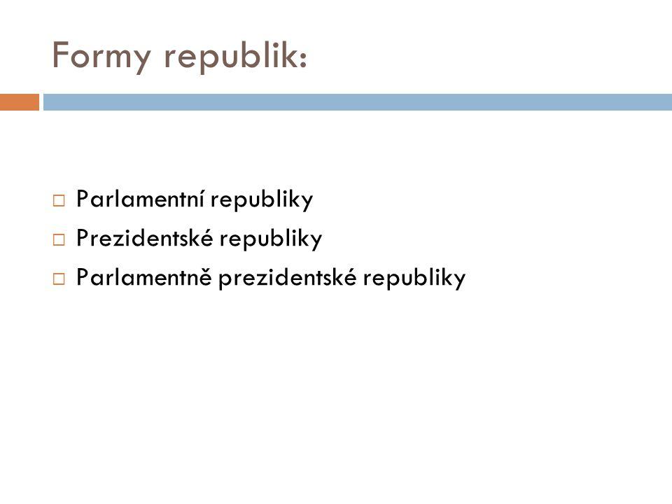 Formy republik: Parlamentní republiky Prezidentské republiky