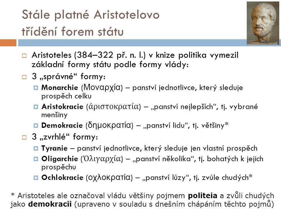 Stále platné Aristotelovo třídění forem státu
