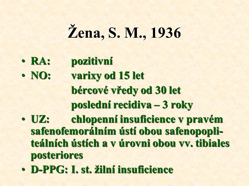 Žena, S. M., 1936 RA: pozitivní NO: varixy od 15 let