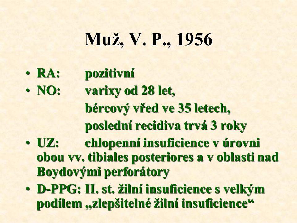 Muž, V. P., 1956 RA: pozitivní NO: varixy od 28 let,