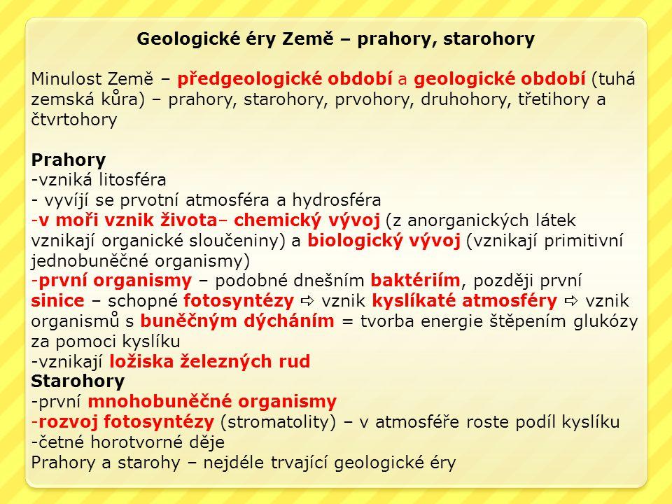 Geologické éry Země – prahory, starohory