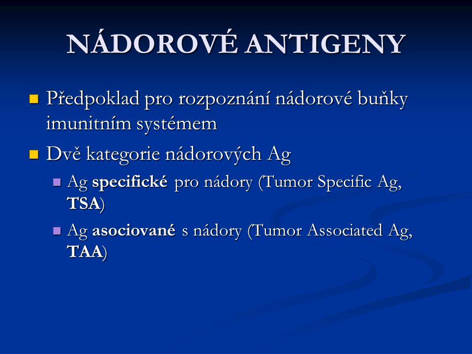 NÁDOROVÉ ANTIGENY Předpoklad pro rozpoznání nádorové buňky imunitním systémem. Dvě kategorie nádorových Ag.