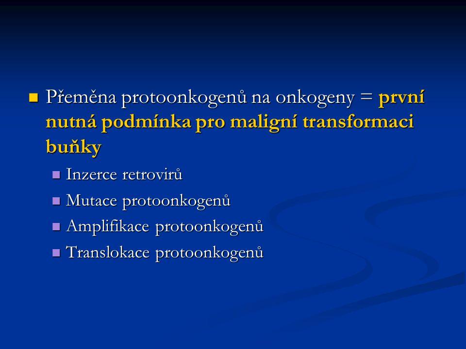 Přeměna protoonkogenů na onkogeny = první nutná podmínka pro maligní transformaci buňky