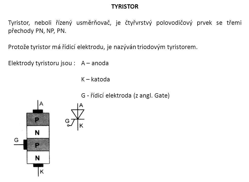 TYRISTOR Tyristor, neboli řízený usměrňovač, je čtyřvrstvý polovodičový prvek se třemi přechody PN, NP, PN.