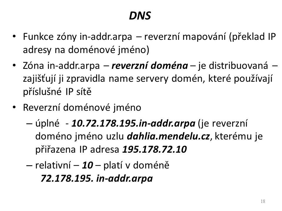 DNS Funkce zóny in-addr.arpa – reverzní mapování (překlad IP adresy na doménové jméno)