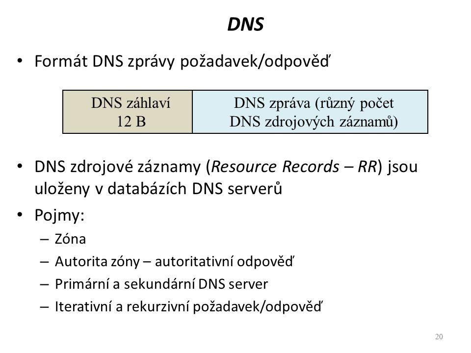 DNS zpráva (různý počet DNS zdrojových záznamů)