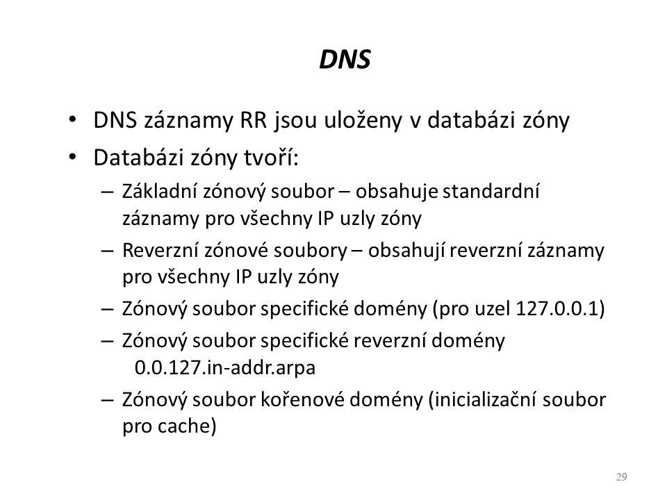 DNS DNS záznamy RR jsou uloženy v databázi zóny Databázi zóny tvoří: