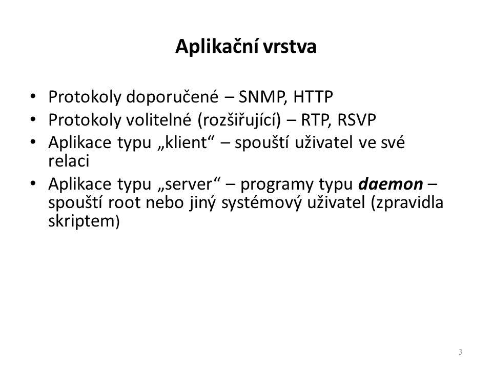 Aplikační vrstva Protokoly doporučené – SNMP, HTTP