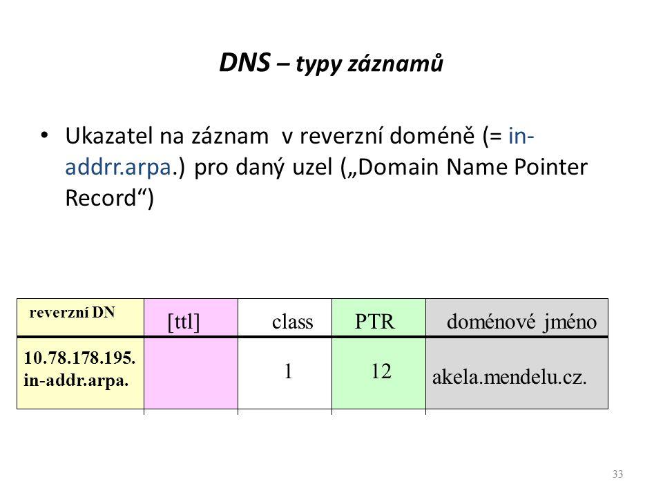 """DNS – typy záznamů Ukazatel na záznam v reverzní doméně (= in-addrr.arpa.) pro daný uzel (""""Domain Name Pointer Record )"""