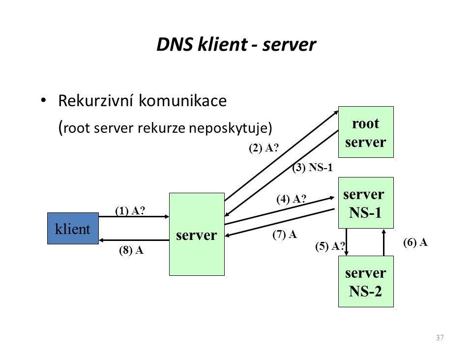 DNS klient - server Rekurzivní komunikace