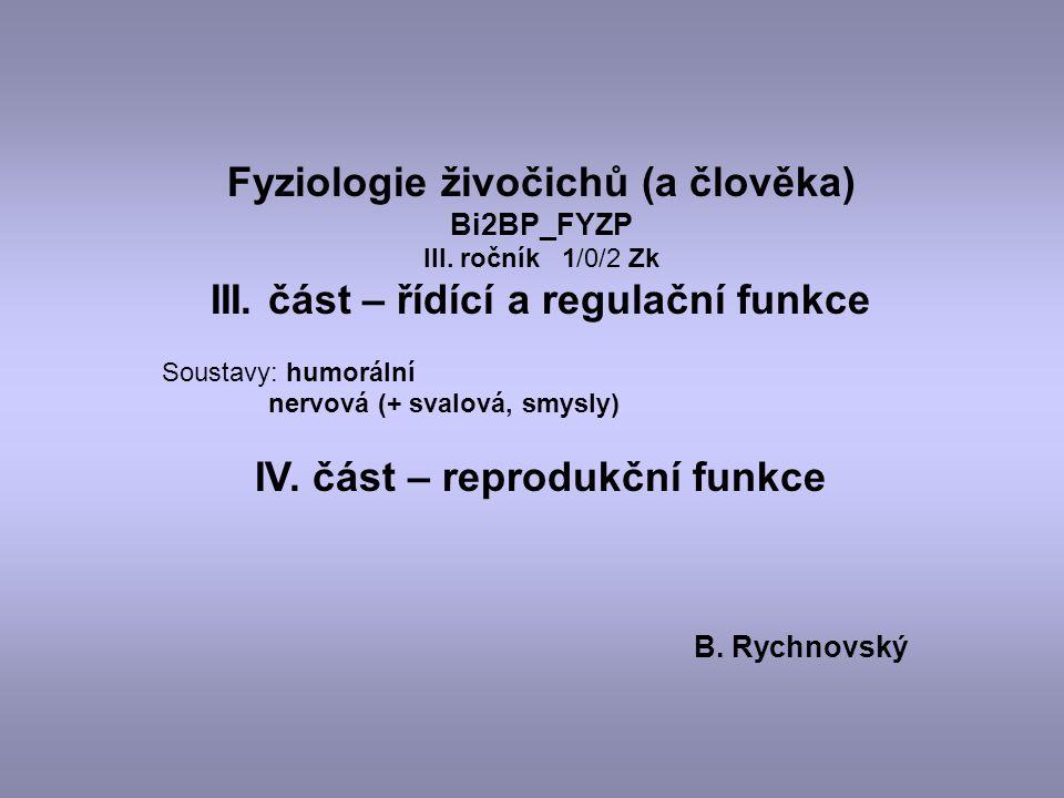Fyziologie živočichů (a člověka) III. část – řídící a regulační funkce