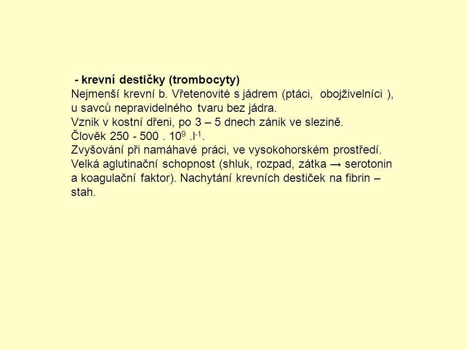 - krevní destičky (trombocyty)