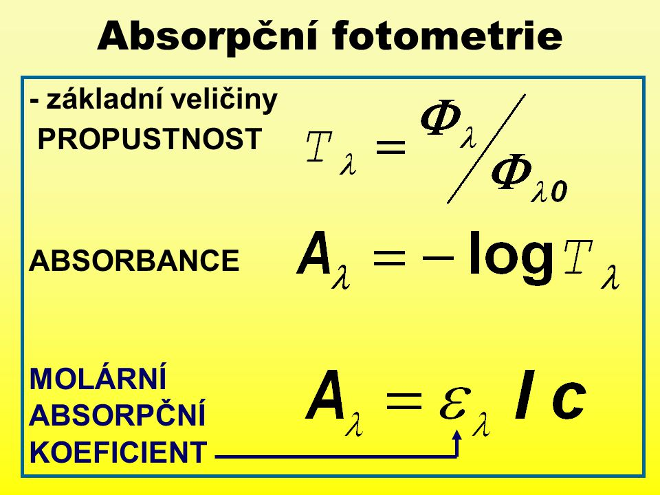 Absorpční fotometrie - základní veličiny PROPUSTNOST ABSORBANCE