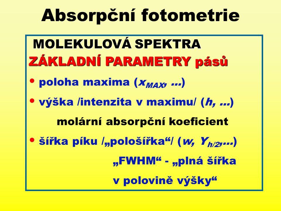 Absorpční fotometrie MOLEKULOVÁ SPEKTRA ZÁKLADNÍ PARAMETRY pásů