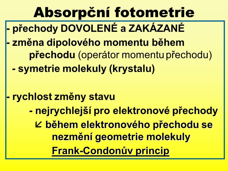 Absorpční fotometrie - přechody DOVOLENÉ a ZAKÁZANÉ