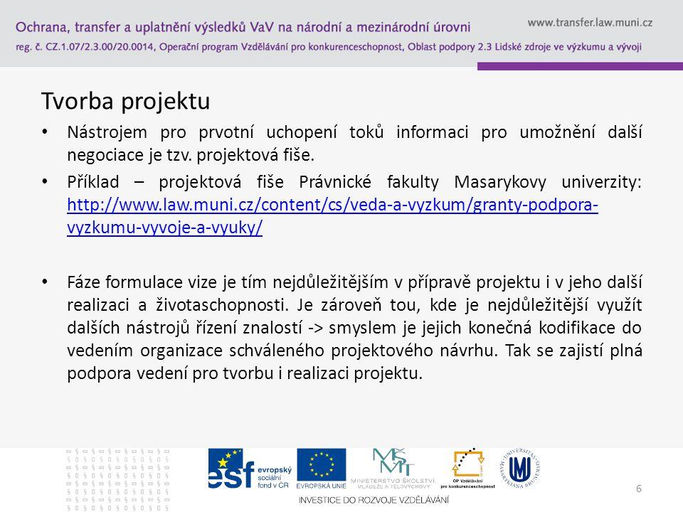 Tvorba projektu Nástrojem pro prvotní uchopení toků informaci pro umožnění další negociace je tzv. projektová fiše.