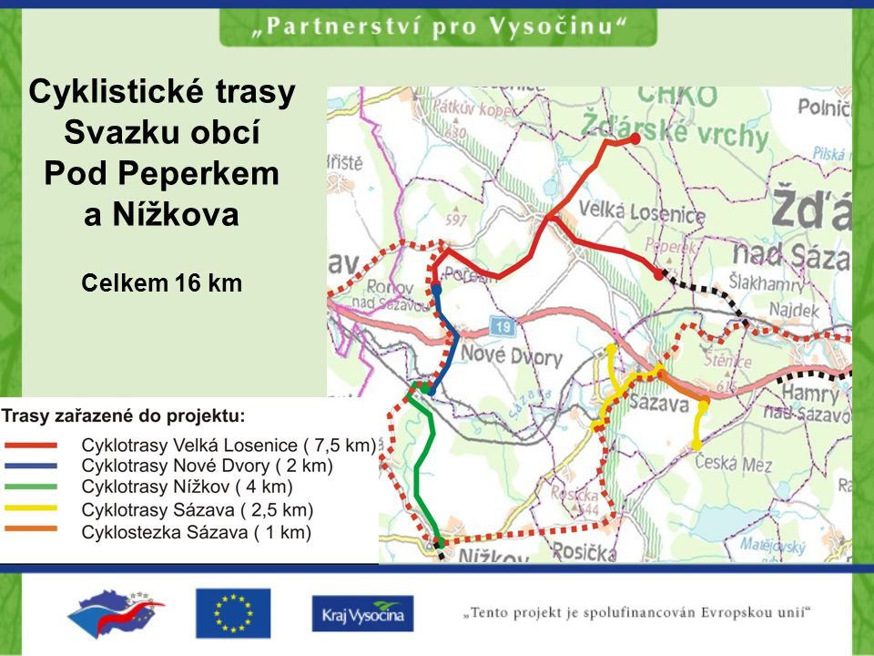 Cyklistické trasy Svazku obcí Pod Peperkem a Nížkova Celkem 16 km