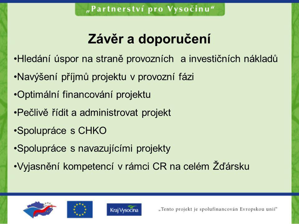 Závěr a doporučení Hledání úspor na straně provozních a investičních nákladů. Navýšení příjmů projektu v provozní fázi.