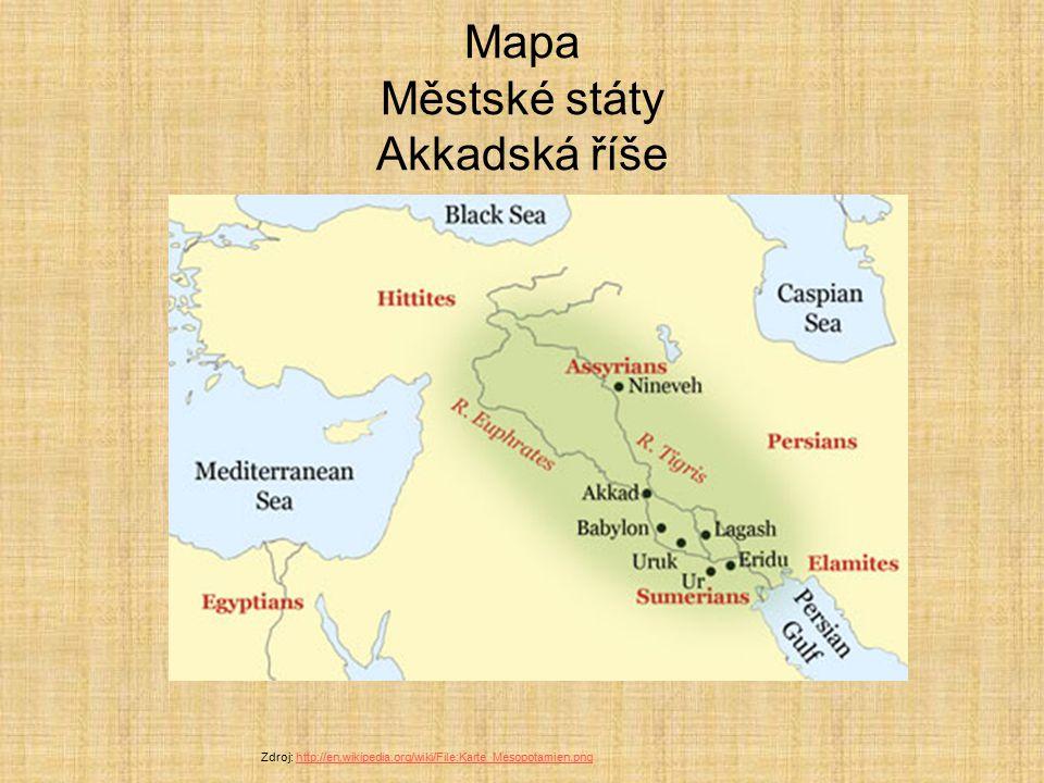 Mapa Městské státy Akkadská říše