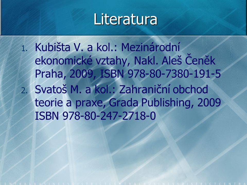 Literatura Kubišta V. a kol.: Mezinárodní ekonomické vztahy, Nakl. Aleš Čeněk Praha, 2009, ISBN 978-80-7380-191-5.