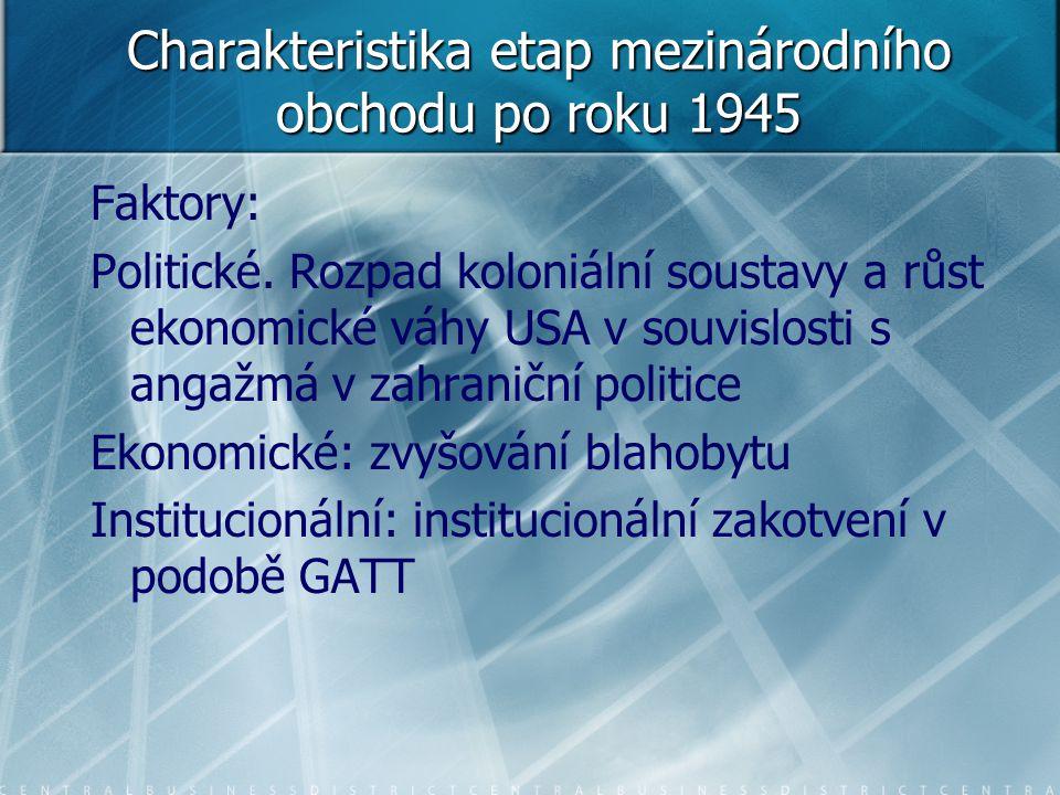 Charakteristika etap mezinárodního obchodu po roku 1945