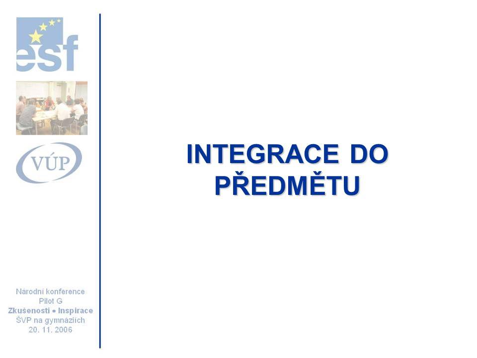 INTEGRACE DO PŘEDMĚTU