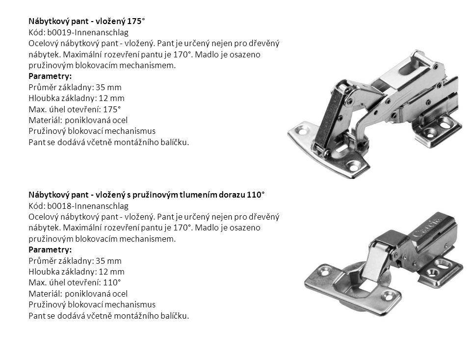 Nábytkový pant - vložený 175° Kód: b0019-Innenanschlag Ocelový nábytkový pant - vložený. Pant je určený nejen pro dřevěný nábytek. Maximální rozevření pantu je 170°. Madlo je osazeno pružinovým blokovacím mechanismem. Parametry: Průměr základny: 35 mm Hloubka základny: 12 mm Max. úhel otevření: 175° Materiál: poniklovaná ocel Pružinový blokovací mechanismus Pant se dodává včetně montážního balíčku.