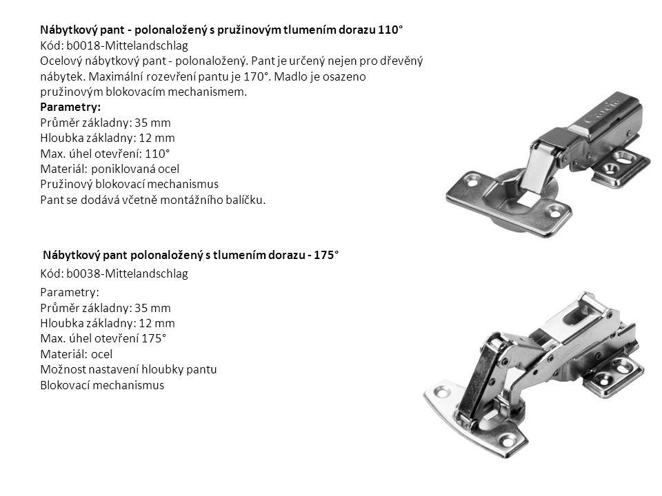 Nábytkový pant - polonaložený s pružinovým tlumením dorazu 110° Kód: b0018-Mittelandschlag Ocelový nábytkový pant - polonaložený. Pant je určený nejen pro dřevěný nábytek. Maximální rozevření pantu je 170°. Madlo je osazeno pružinovým blokovacím mechanismem. Parametry: Průměr základny: 35 mm Hloubka základny: 12 mm Max. úhel otevření: 110° Materiál: poniklovaná ocel Pružinový blokovací mechanismus Pant se dodává včetně montážního balíčku.
