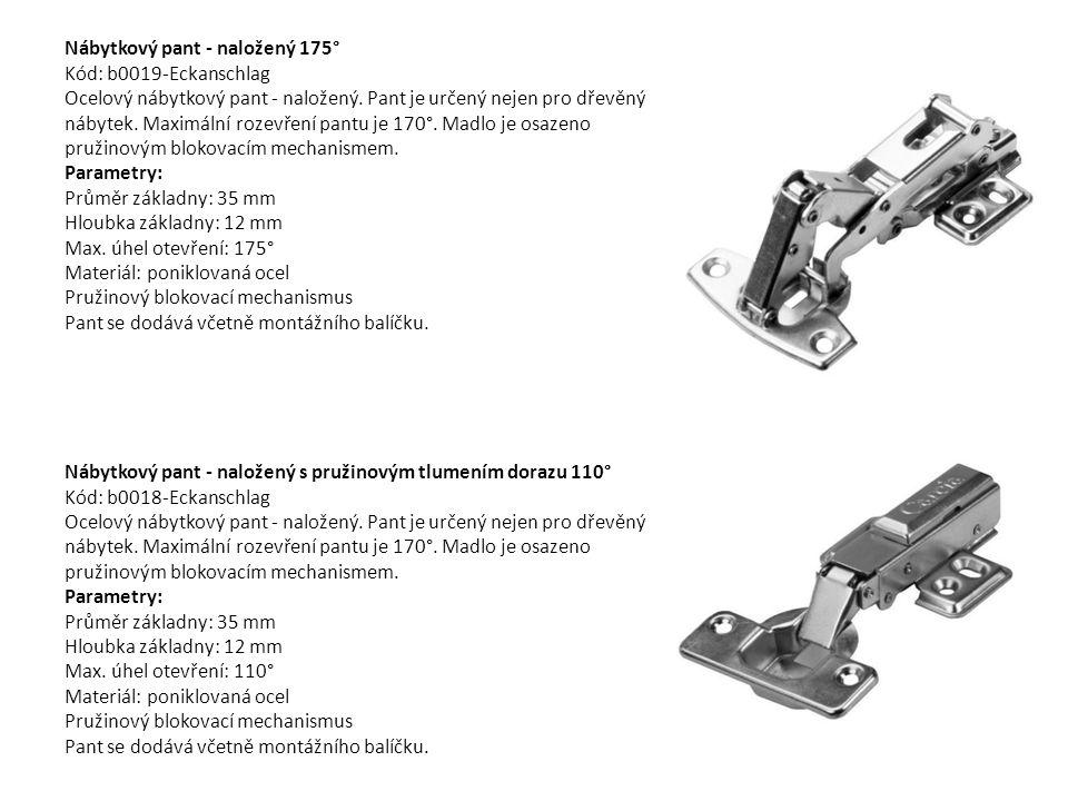 Nábytkový pant - naložený 175° Kód: b0019-Eckanschlag Ocelový nábytkový pant - naložený. Pant je určený nejen pro dřevěný nábytek. Maximální rozevření pantu je 170°. Madlo je osazeno pružinovým blokovacím mechanismem. Parametry: Průměr základny: 35 mm Hloubka základny: 12 mm Max. úhel otevření: 175° Materiál: poniklovaná ocel Pružinový blokovací mechanismus Pant se dodává včetně montážního balíčku.