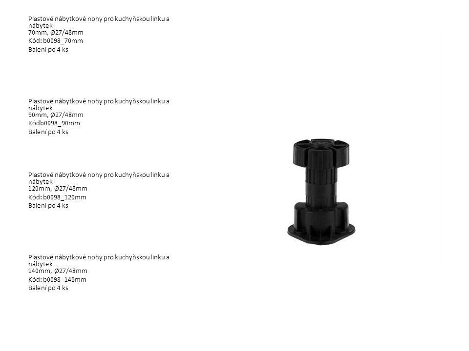 Plastové nábytkové nohy pro kuchyňskou linku a nábytek 70mm, Ø27/48mm