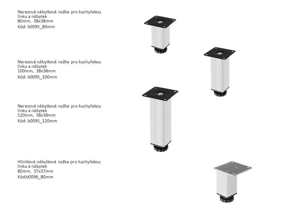 Nerezová nábytková nožka pro kuchyňskou linku a nábytek 80mm, 38x38mm
