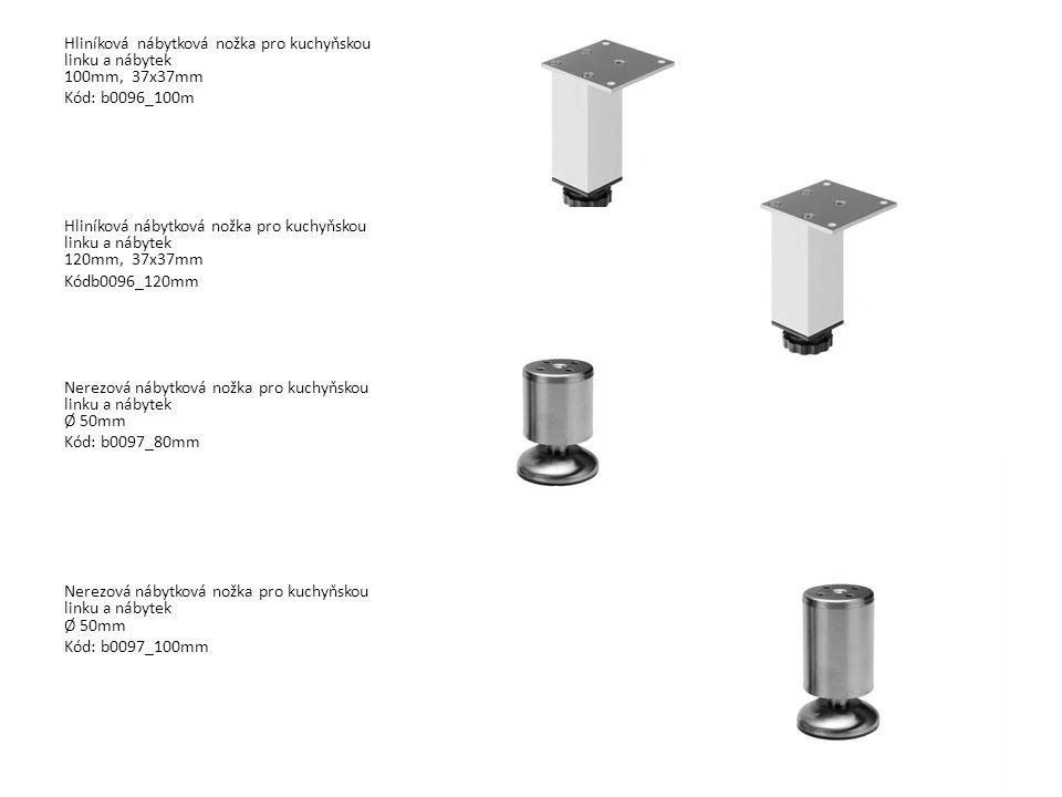 Hliníková nábytková nožka pro kuchyňskou linku a nábytek 100mm, 37x37mm