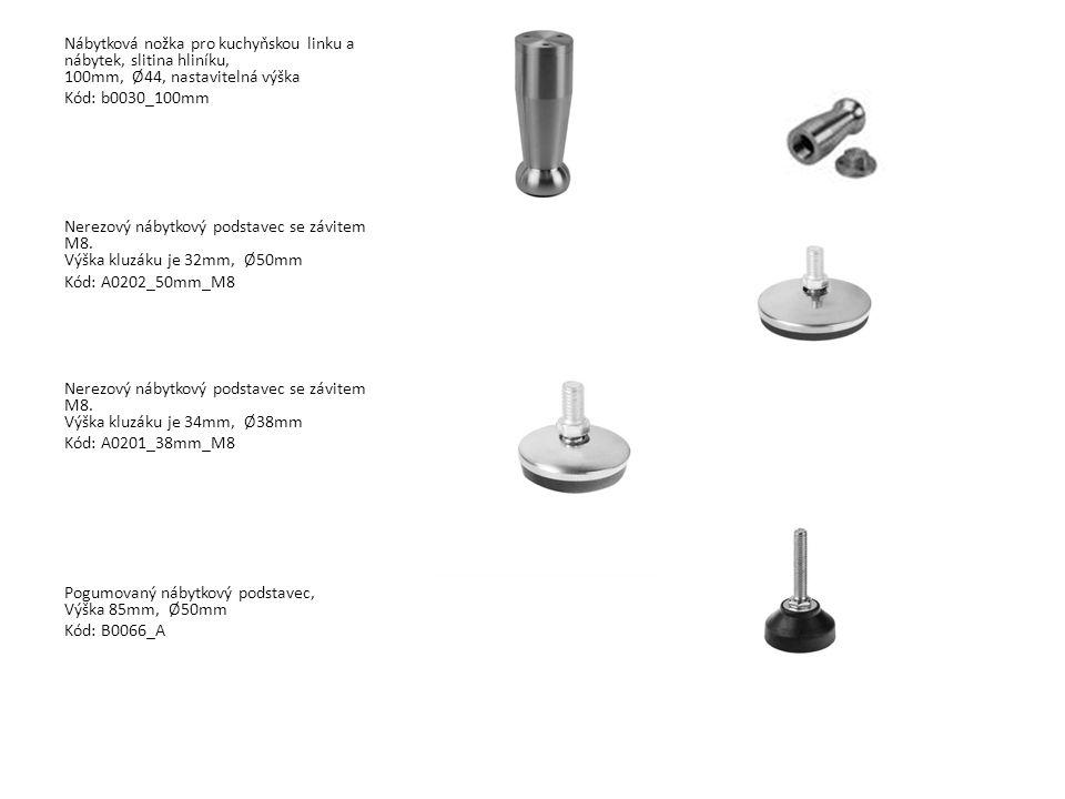 Nábytková nožka pro kuchyňskou linku a nábytek, slitina hliníku, 100mm, Ø44, nastavitelná výška