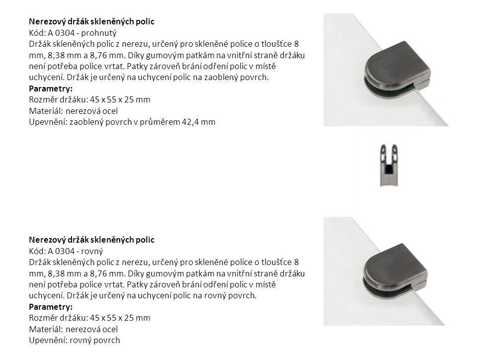 Nerezový držák skleněných polic Kód: A 0304 - prohnutý Držák skleněných polic z nerezu, určený pro skleněné police o tloušťce 8 mm, 8,38 mm a 8,76 mm. Díky gumovým patkám na vnitřní straně držáku není potřeba police vrtat. Patky zároveň brání odření polic v místě uchycení. Držák je určený na uchycení polic na zaoblený povrch. Parametry: Rozměr držáku: 45 x 55 x 25 mm Materiál: nerezová ocel Upevnění: zaoblený povrch v průměrem 42,4 mm