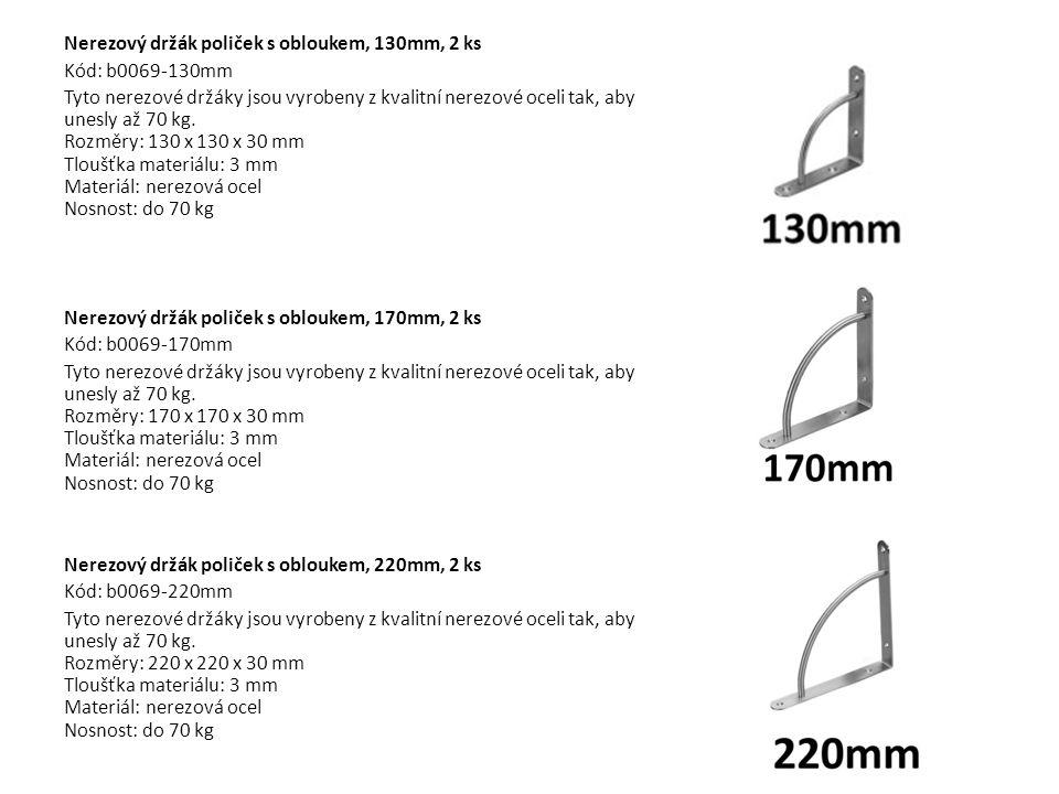Nerezový držák poliček s obloukem, 130mm, 2 ks