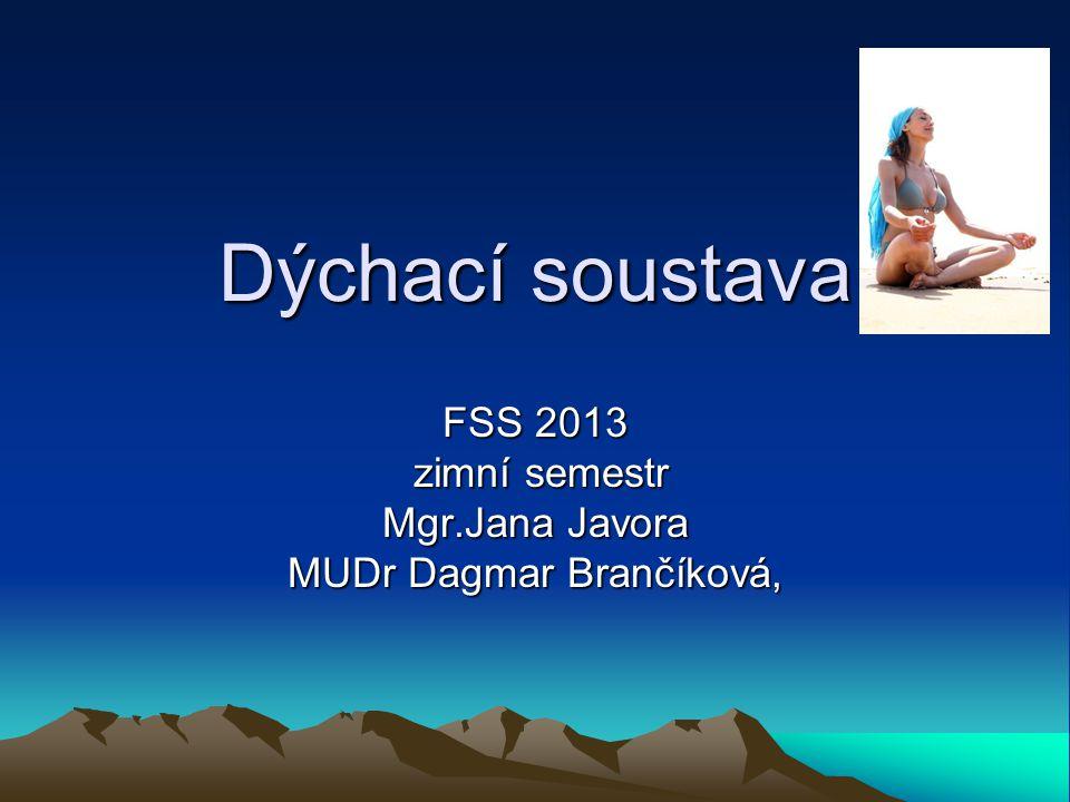 FSS 2013 zimní semestr Mgr.Jana Javora MUDr Dagmar Brančíková,