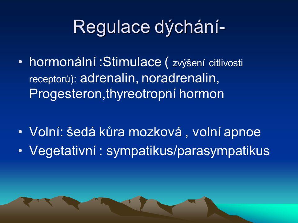 Regulace dýchání- hormonální :Stimulace ( zvýšení citlivosti receptorů): adrenalin, noradrenalin, Progesteron,thyreotropní hormon.
