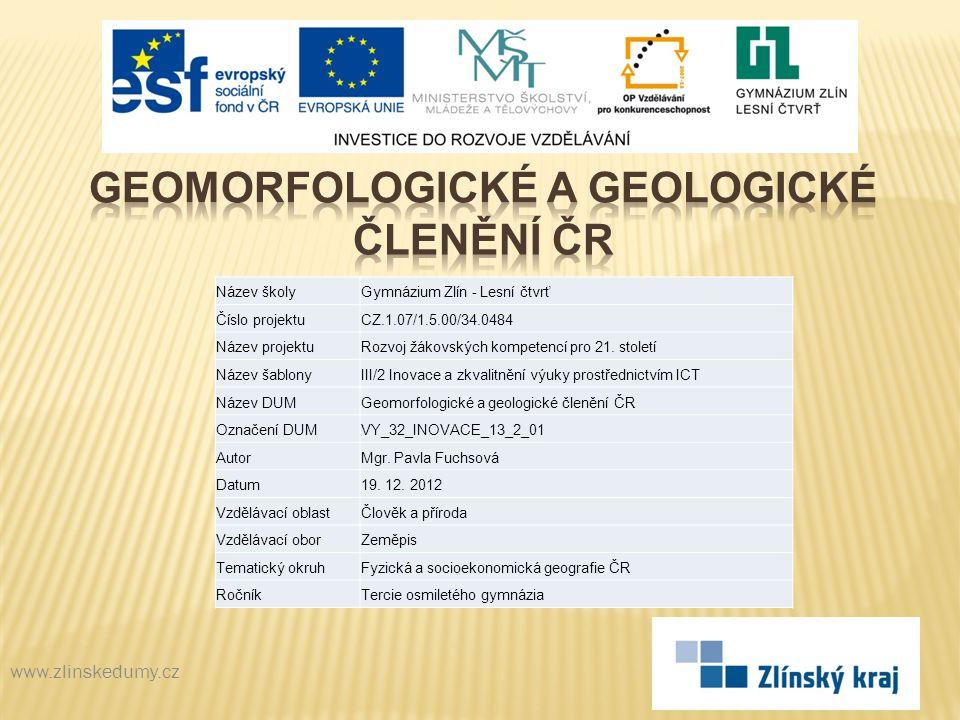 Geomorfologické a geologické členění ČR