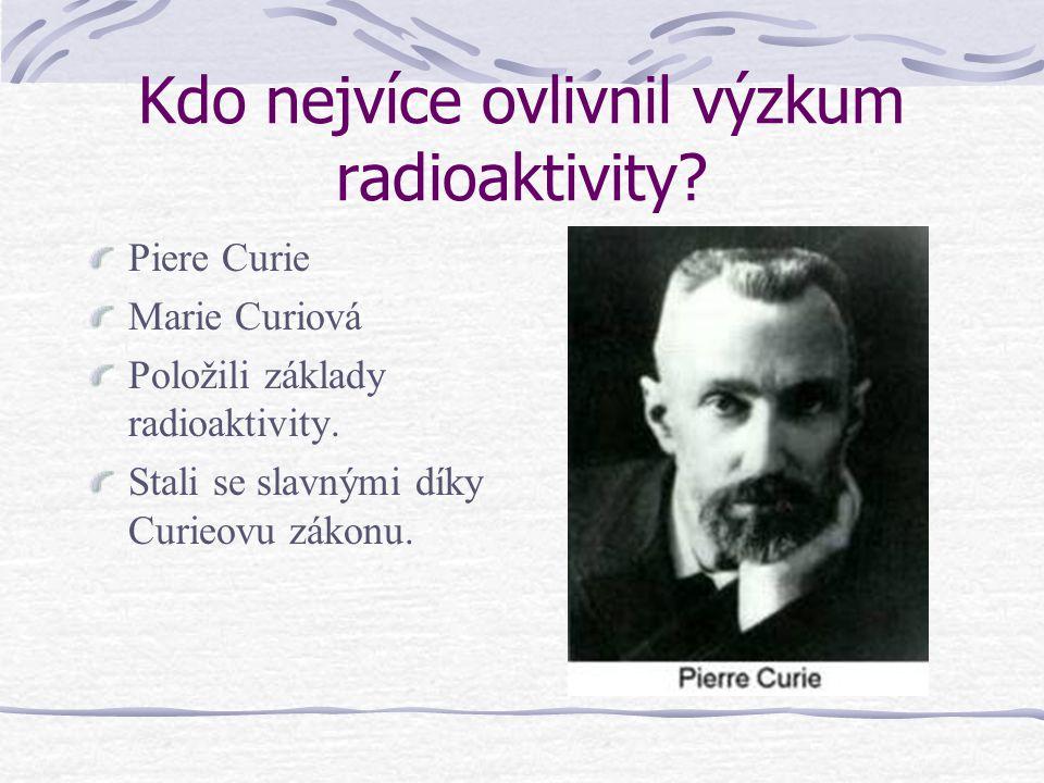 Kdo nejvíce ovlivnil výzkum radioaktivity