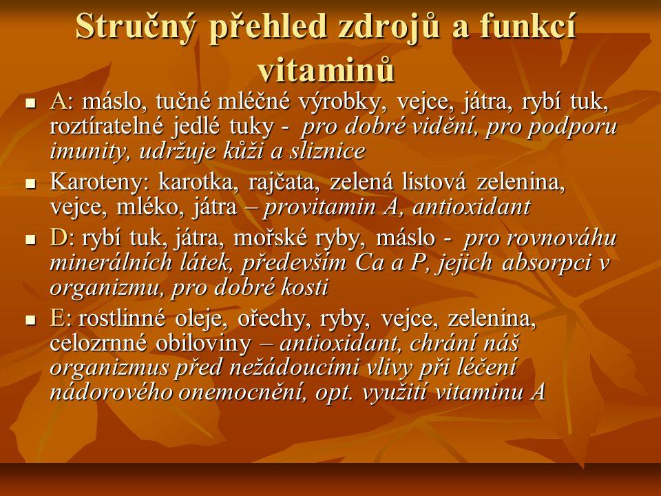 Stručný přehled zdrojů a funkcí vitaminů