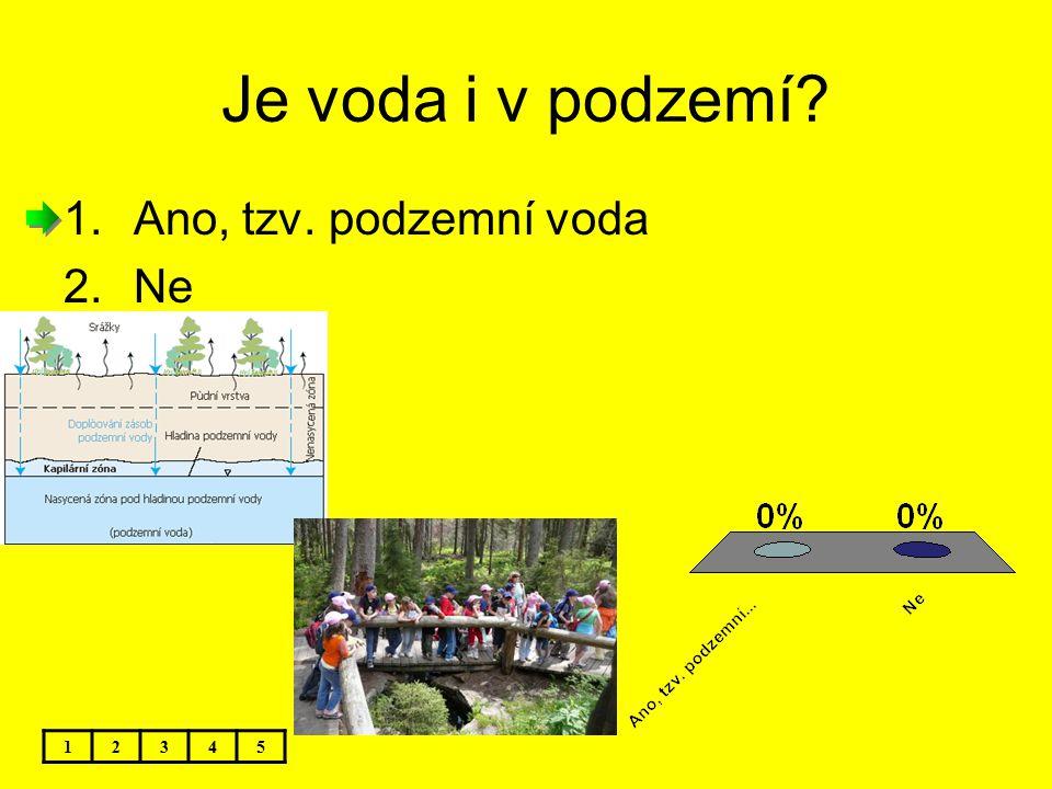 Je voda i v podzemí Ano, tzv. podzemní voda Ne 1 2 3 4 5