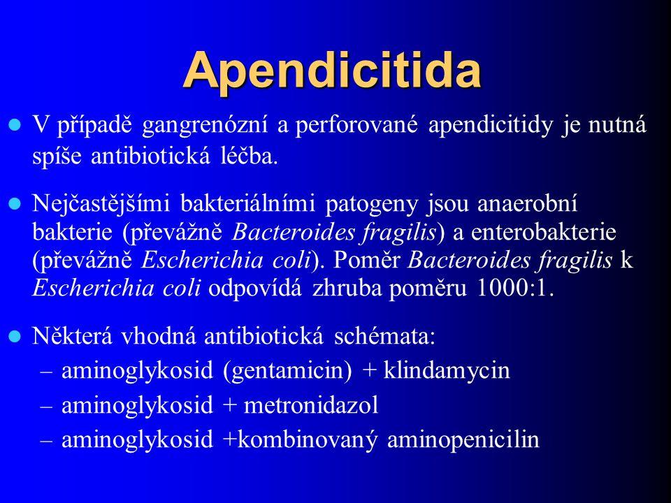 Apendicitida V případě gangrenózní a perforované apendicitidy je nutná spíše antibiotická léčba.