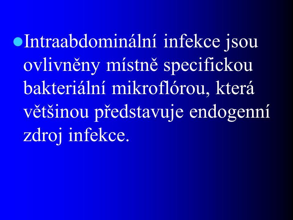 Intraabdominální infekce jsou ovlivněny místně specifickou bakteriální mikroflórou, která většinou představuje endogenní zdroj infekce.