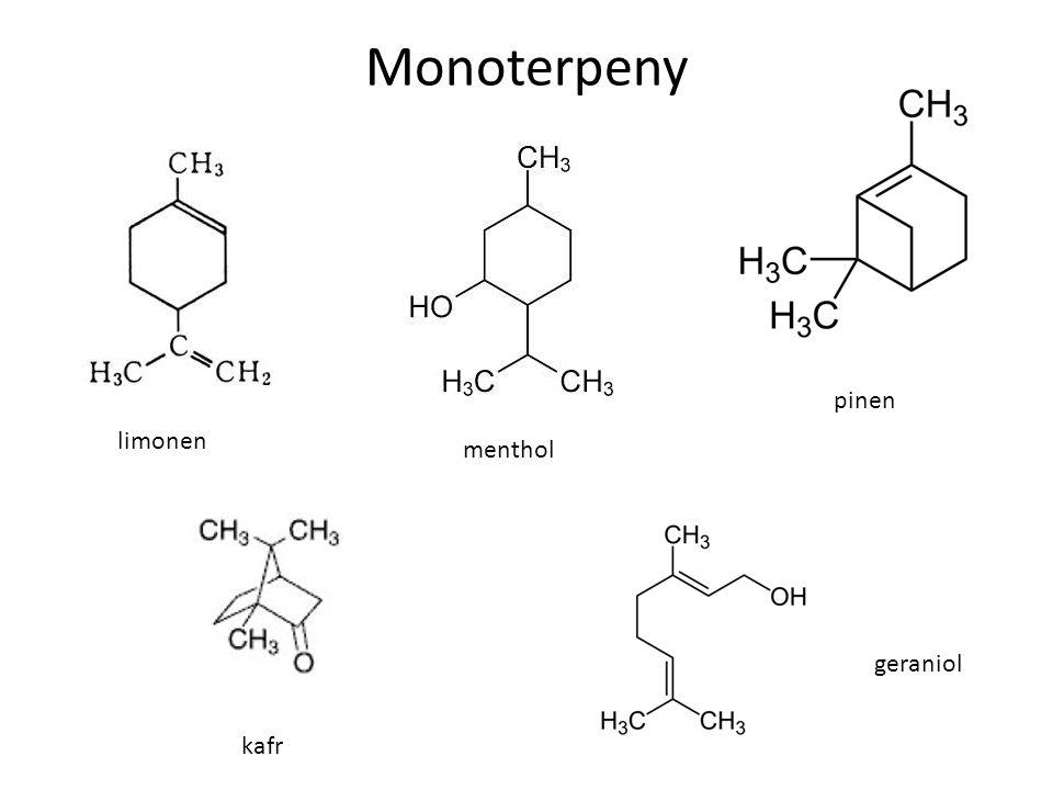 Monoterpeny pinen limonen menthol geraniol kafr