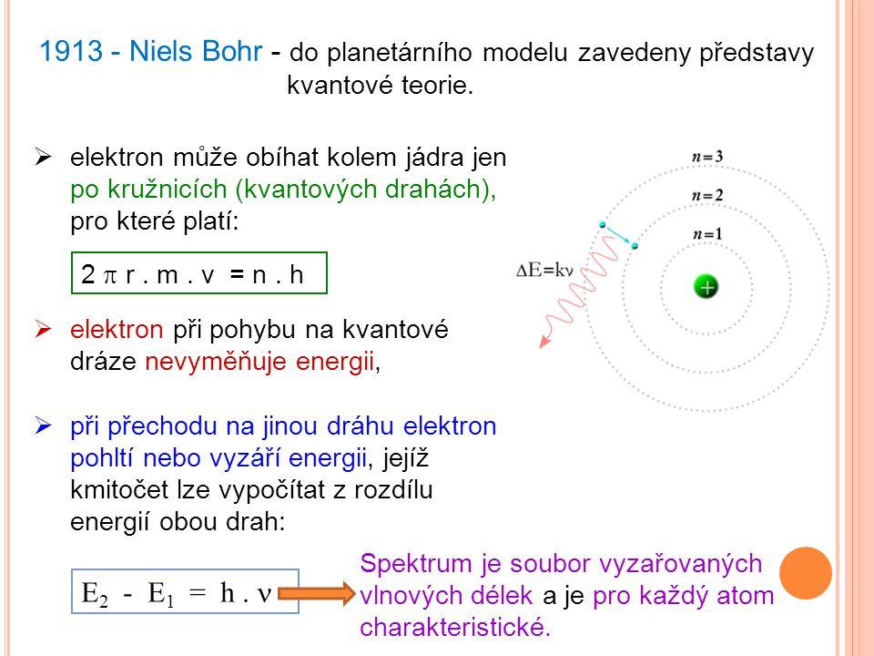 1913 - Niels Bohr - do planetárního modelu zavedeny představy kvantové teorie.