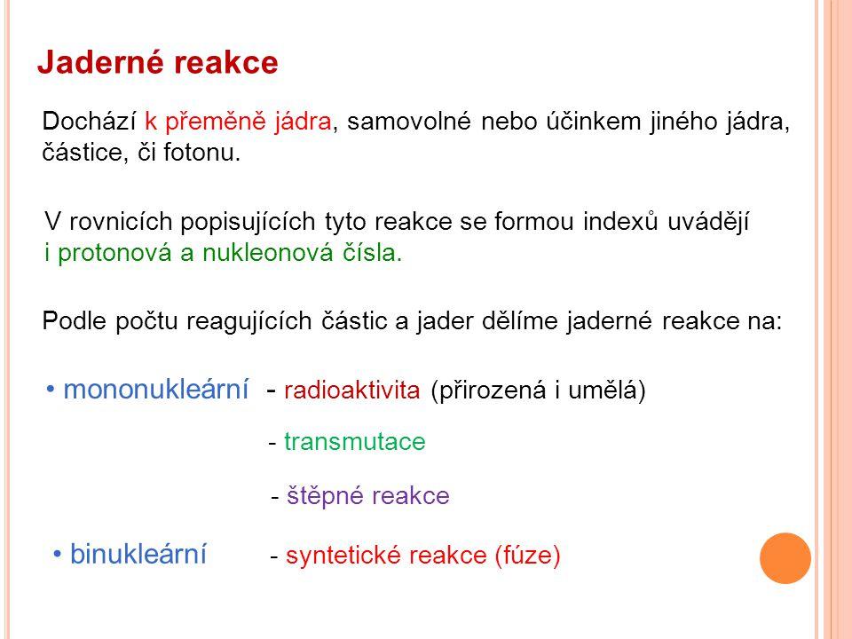 Jaderné reakce mononukleární - radioaktivita (přirozená i umělá)